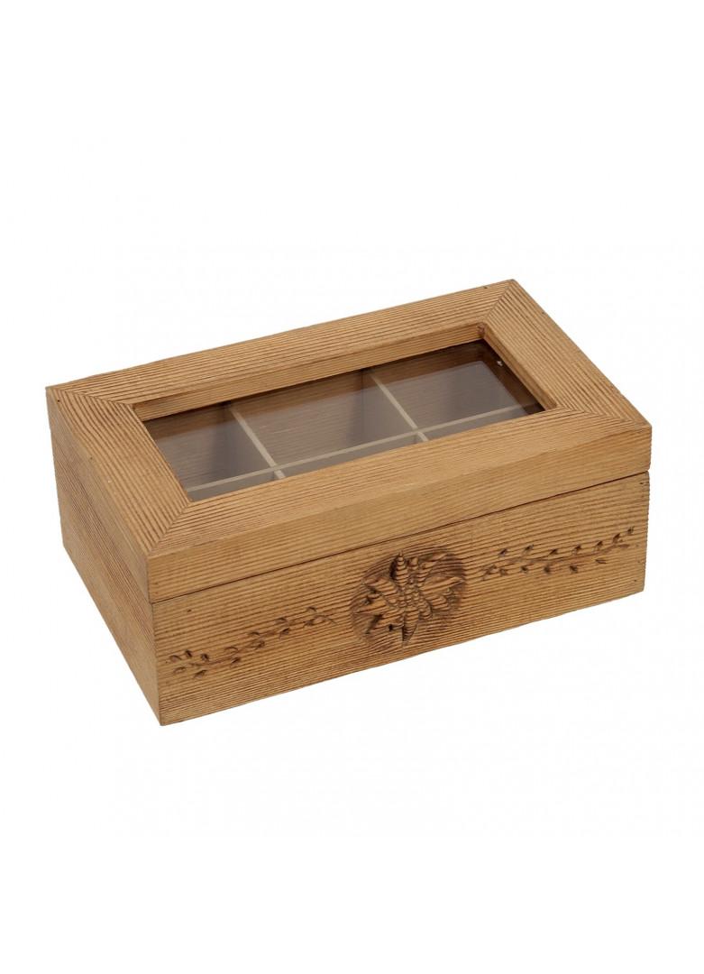 Boîte à thés et infusions bois vieilli alpage