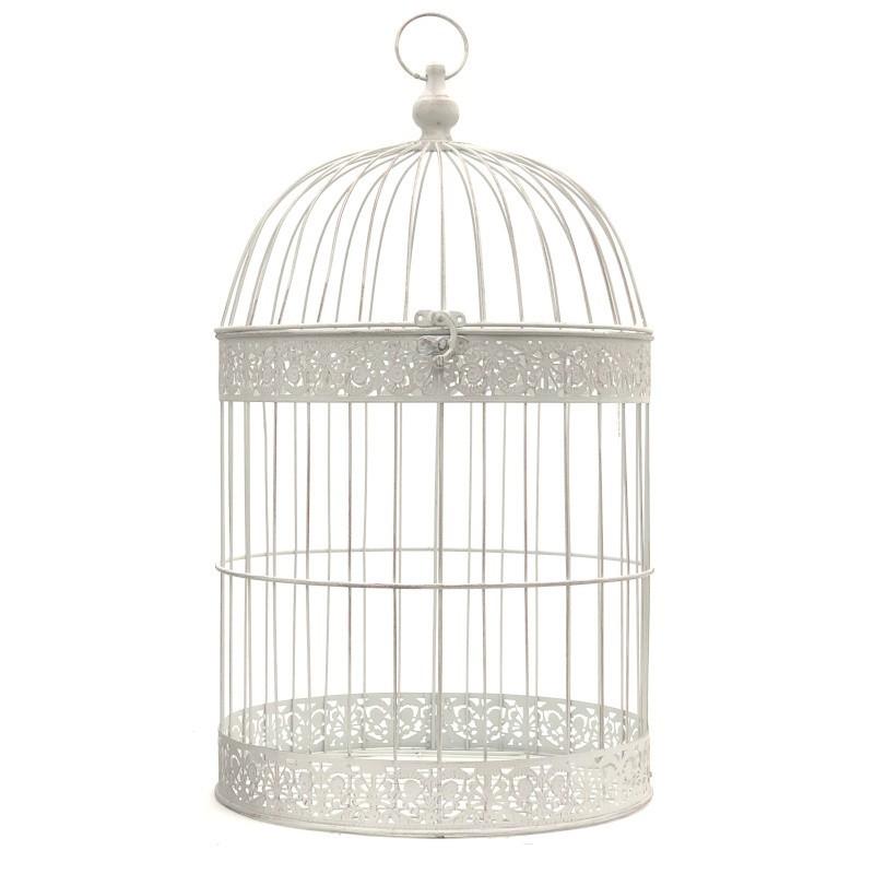 Cage oiseaux décorative fer ronde blanc