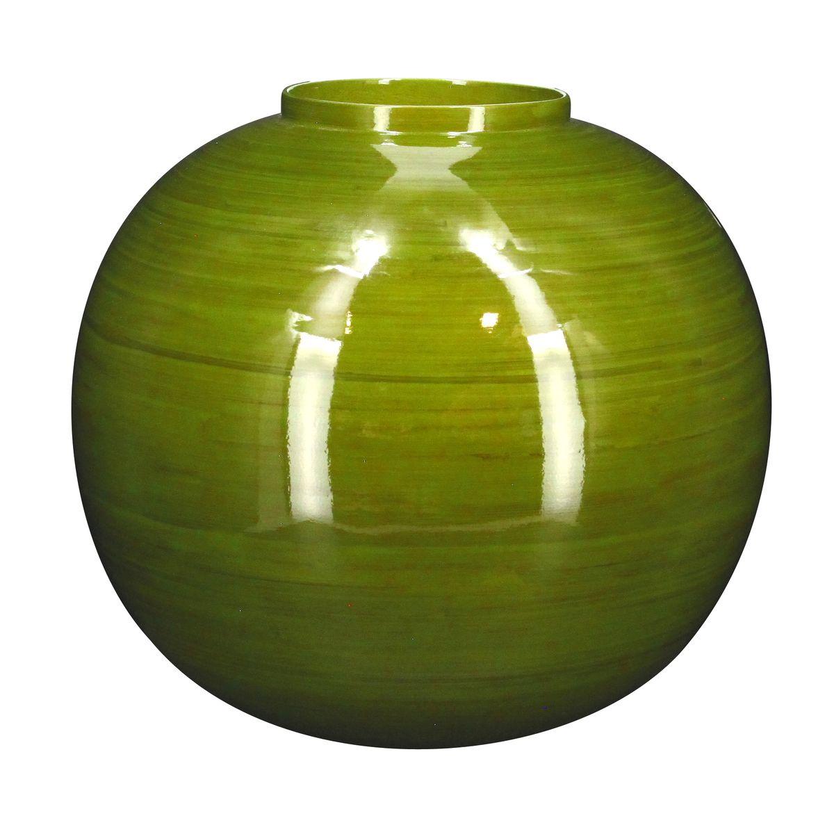 Vase boule en bambou vert