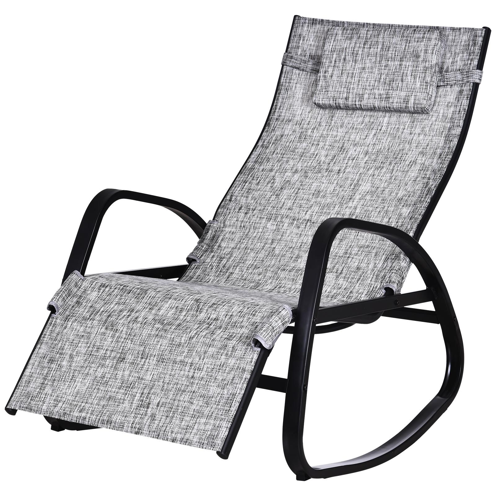 Chaise longue bascule pliable dossier inclinable métal textilène gris (photo)