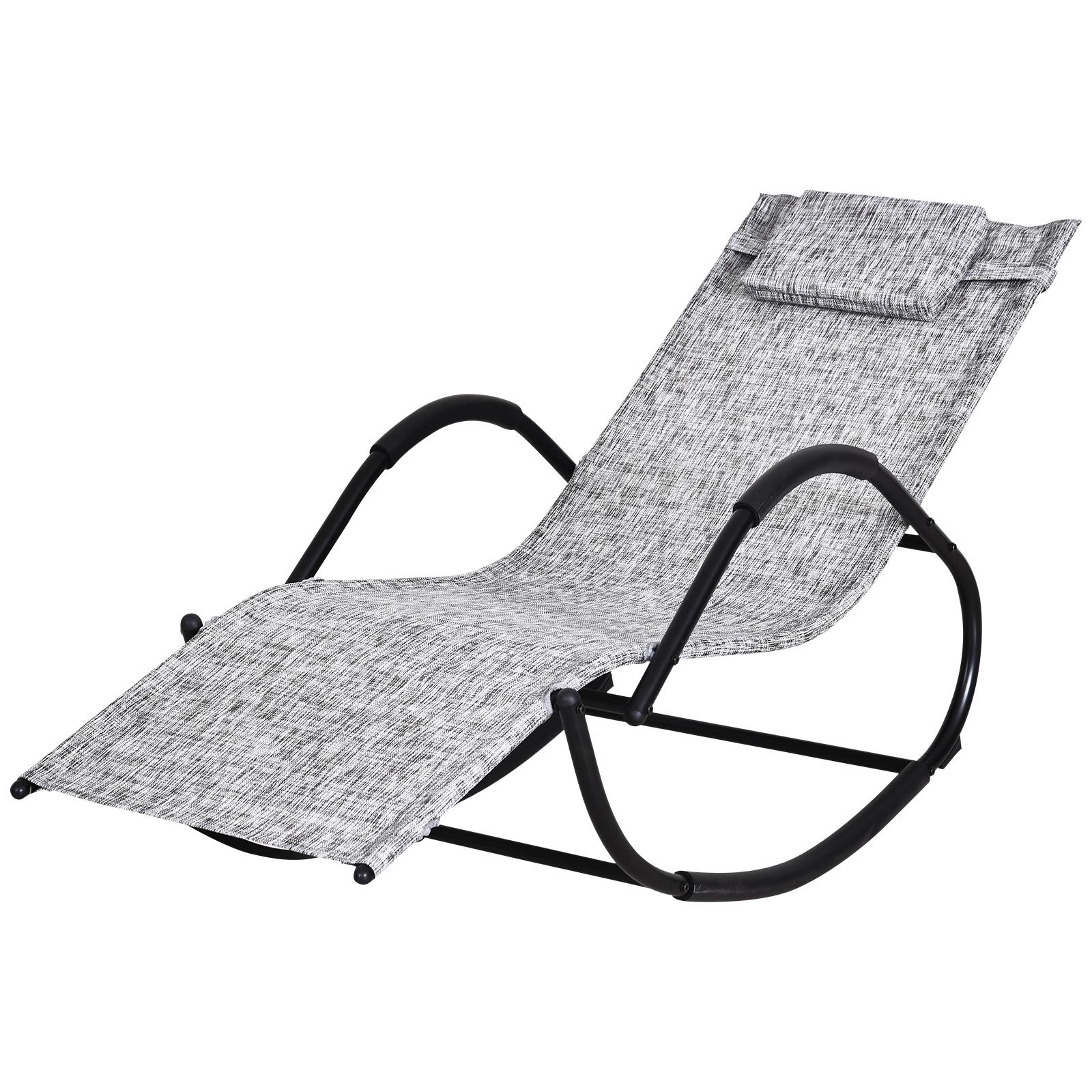 Chaise longue à bascule rocking chair design contemporain gris