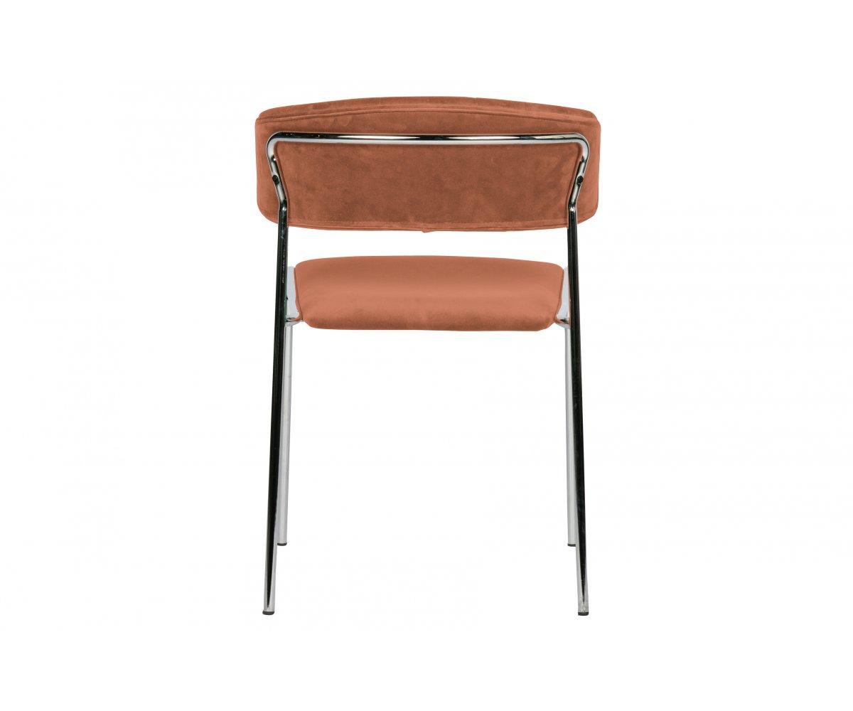 Chaise contemporaine en velours Marron