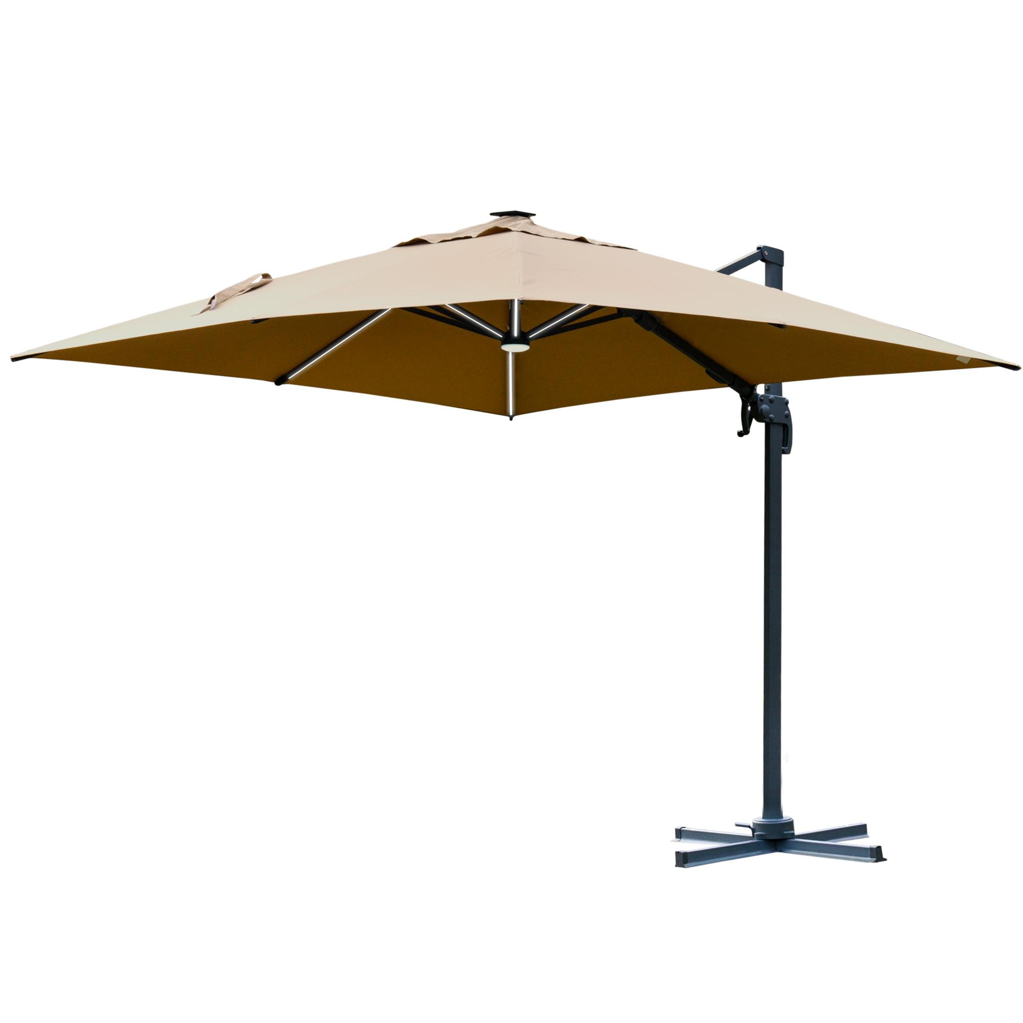 Parasol déporté LED carré inclinable pivotant 360° beige