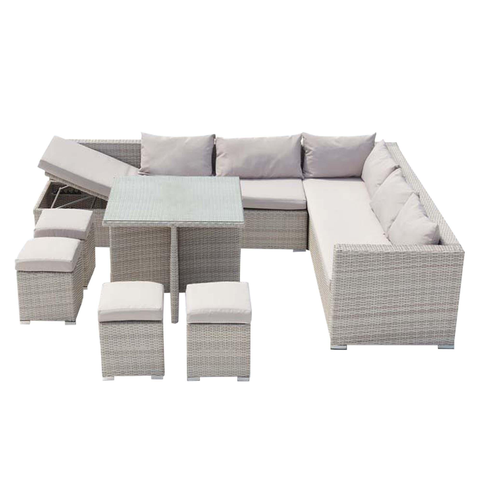 Salon de jardin encastrable 10 places en résine gris/blanc
