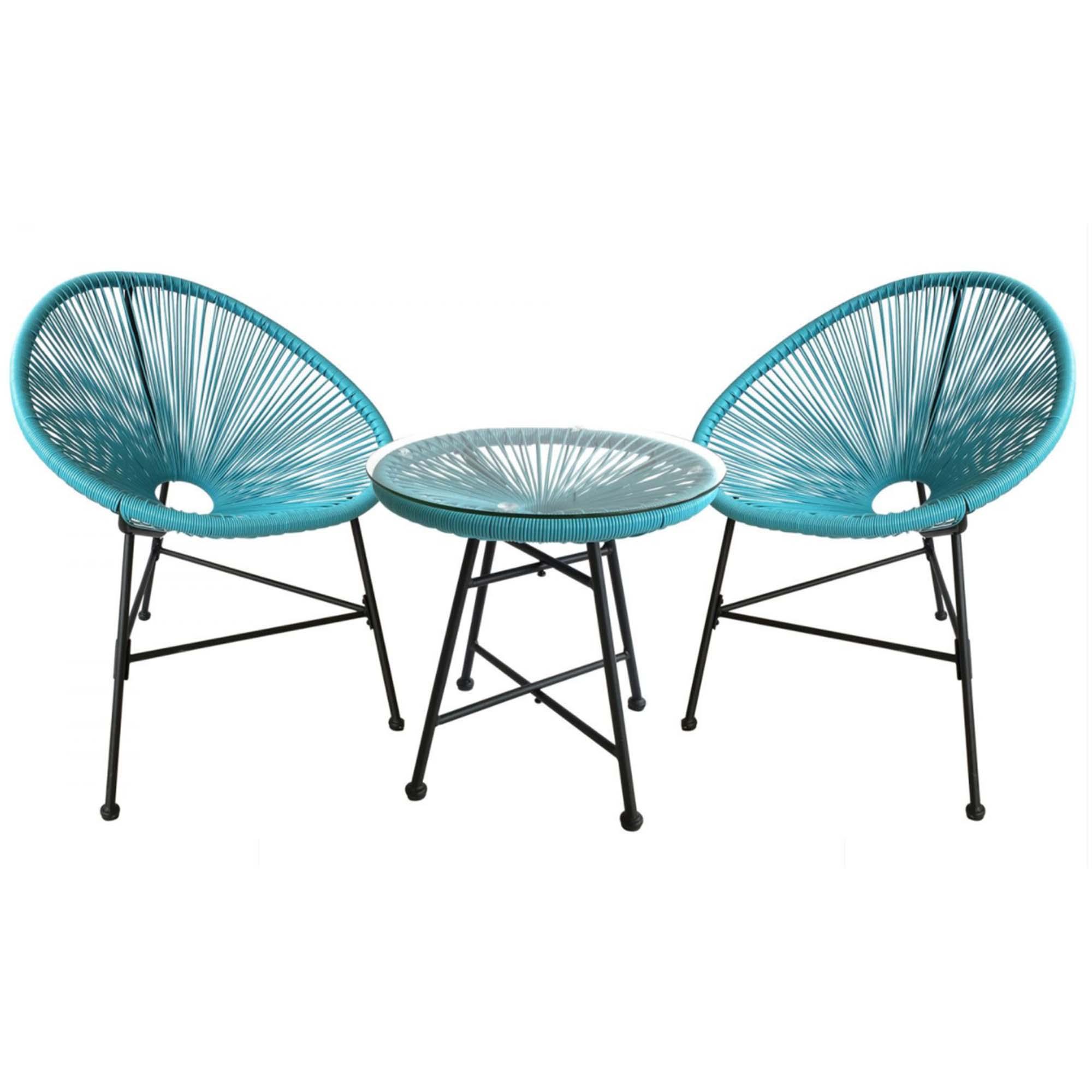 Salon de jardin 2 fauteuils ronds et table basse bleu