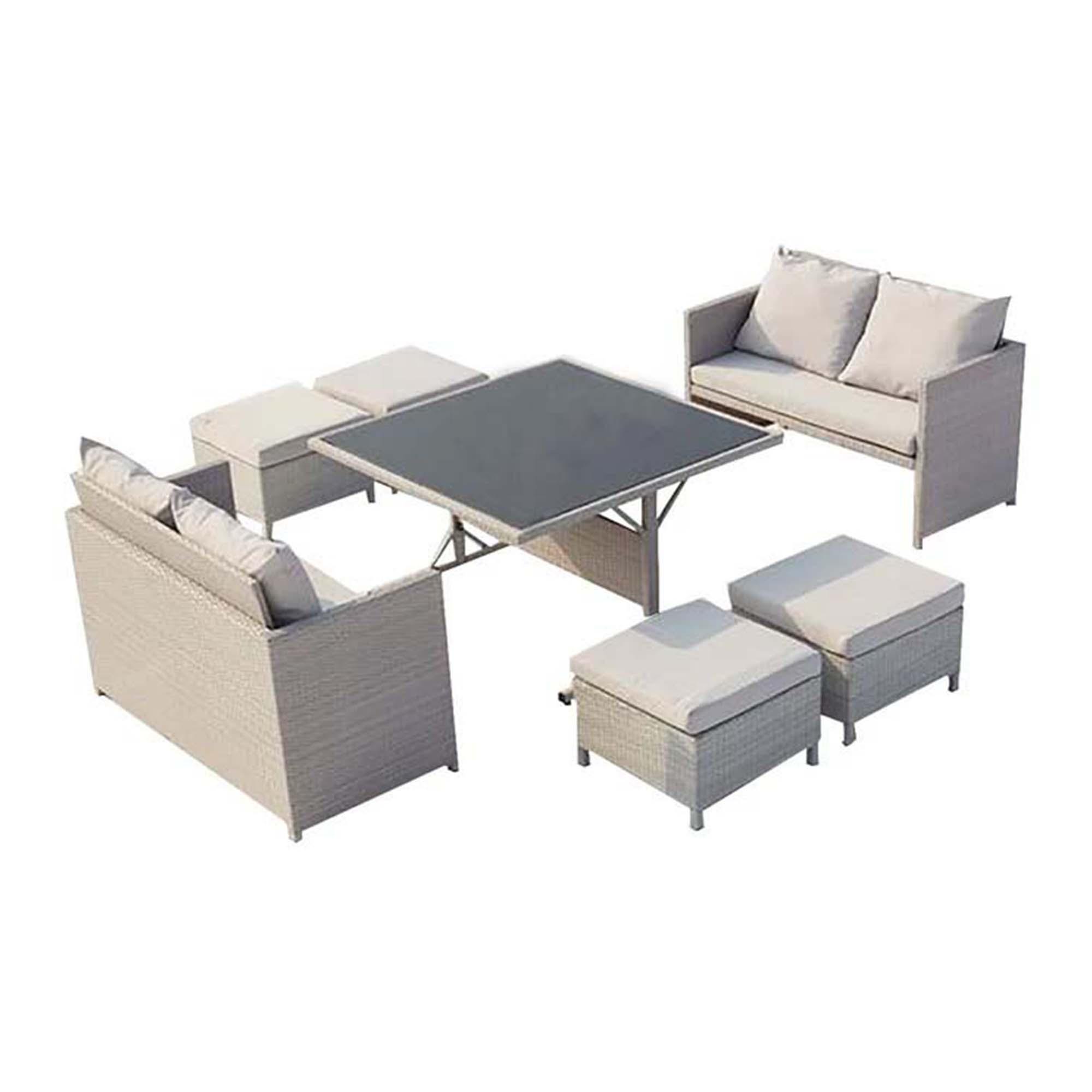Salon de jardin encastrable 8 places en résine gris/blanc