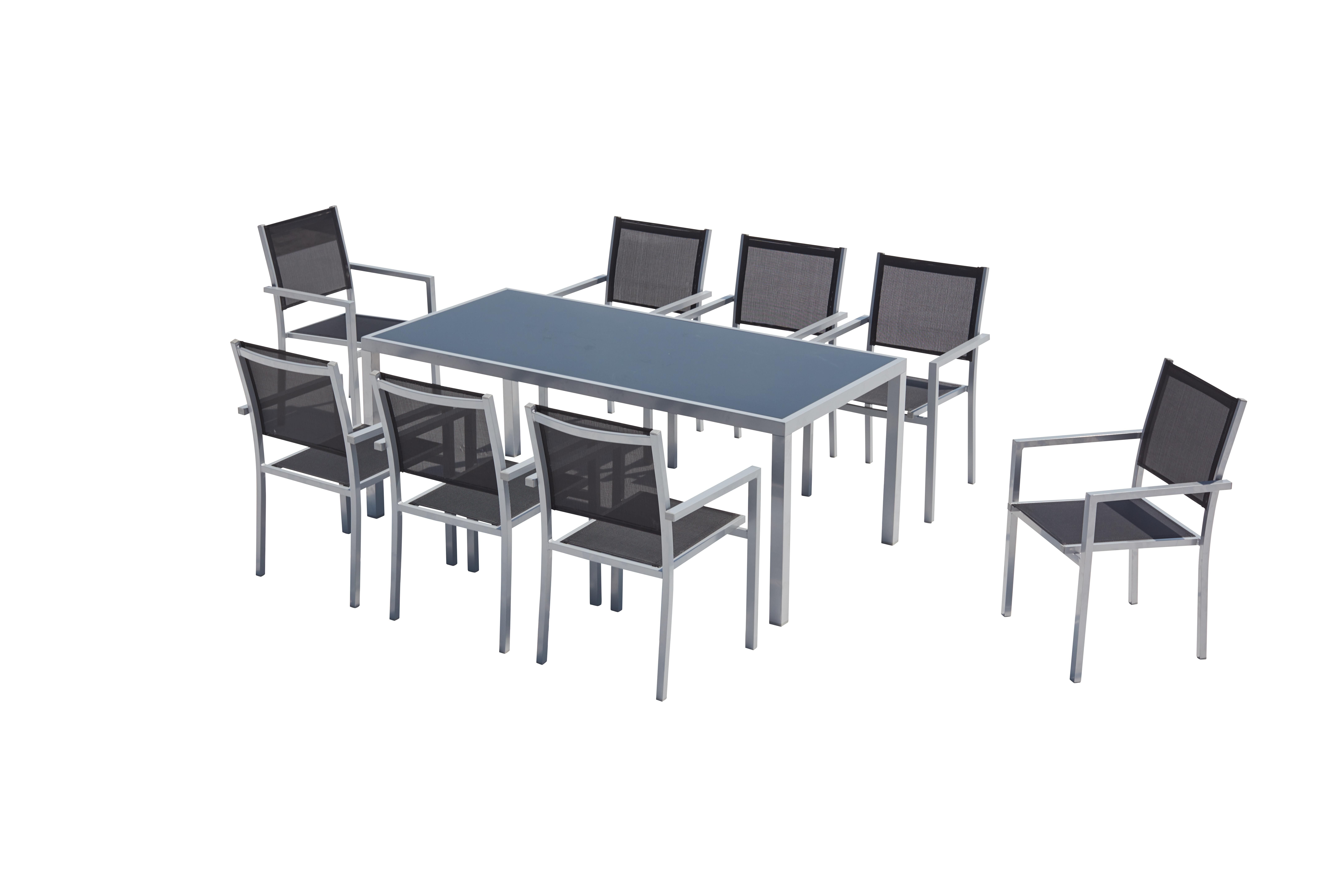 Table de jardin et 8 fauteuils aluminium et textilène gris