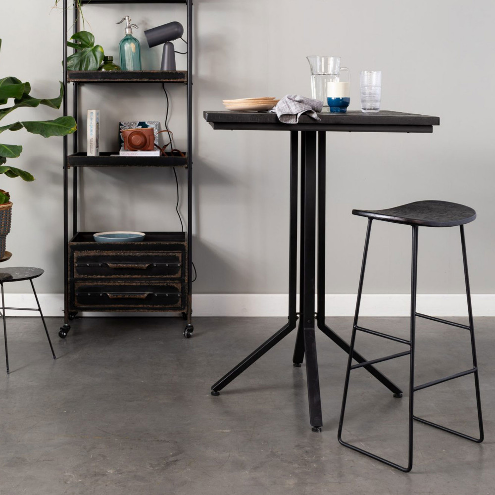 Table de bar carrée noir en teck recyclé laqué