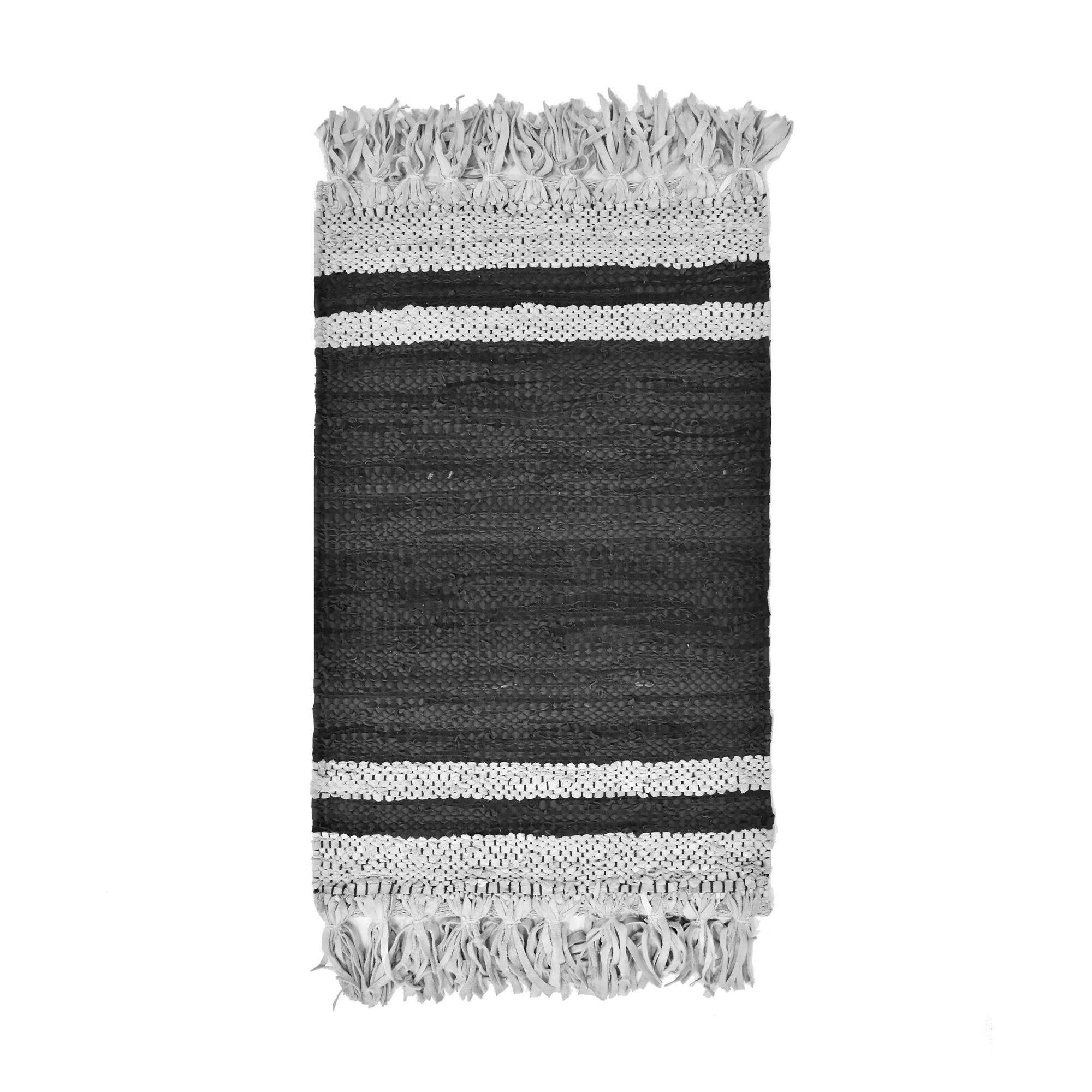 Tapis en cuir recyclé noir et gris 80x60