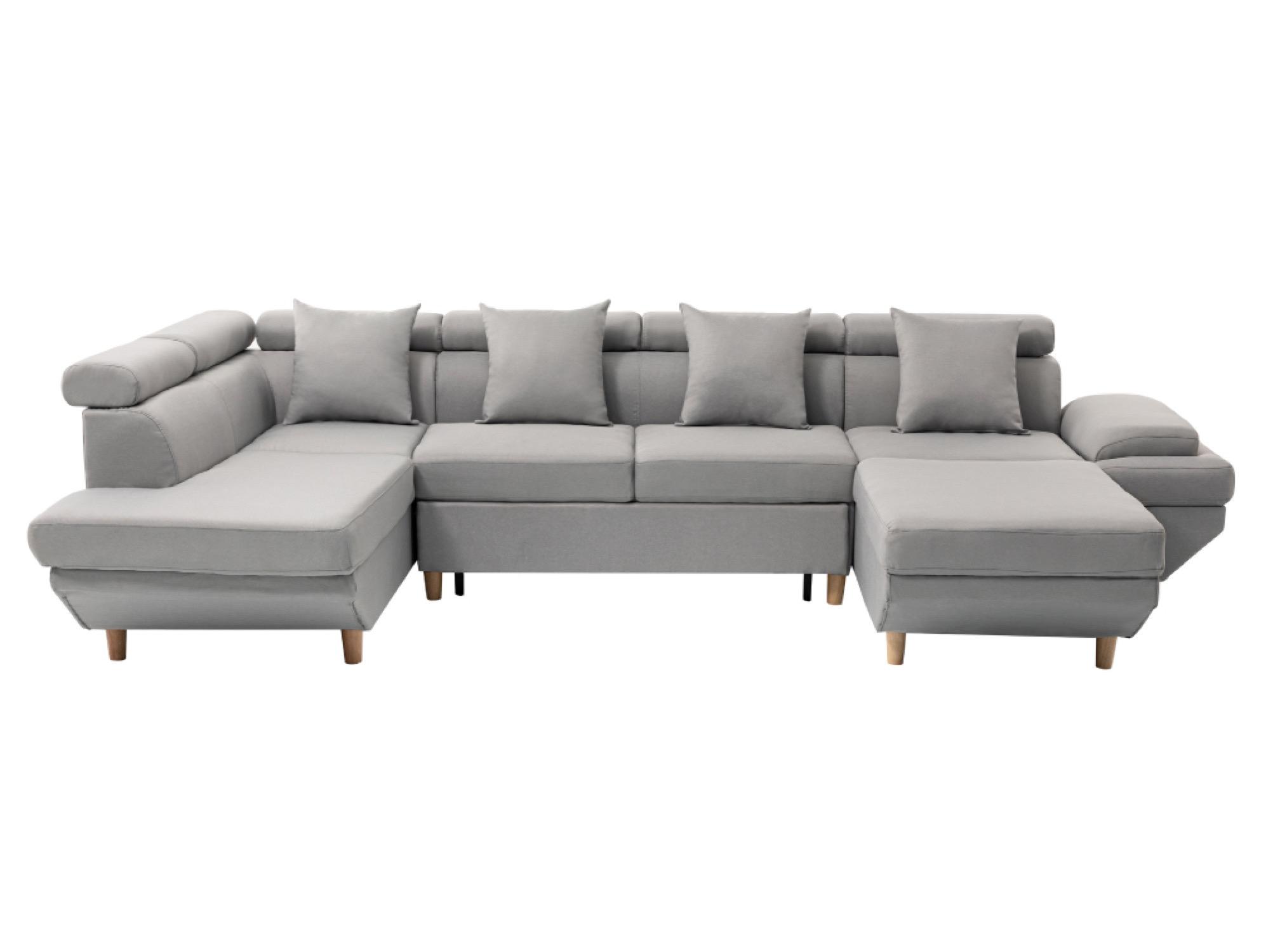 Canapé d'angle 6 places Gris Tissu Design Confort