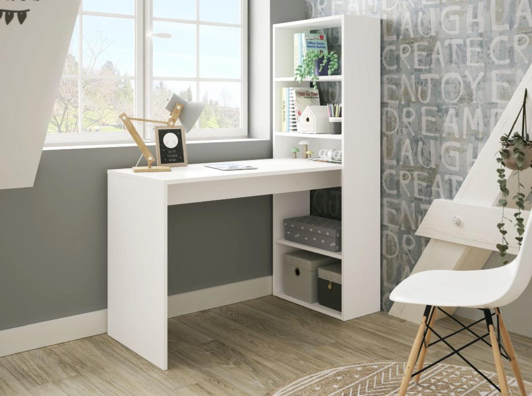 Bureau blanc avec étagère de rangement réversible L120cmxP53cmxH144cm