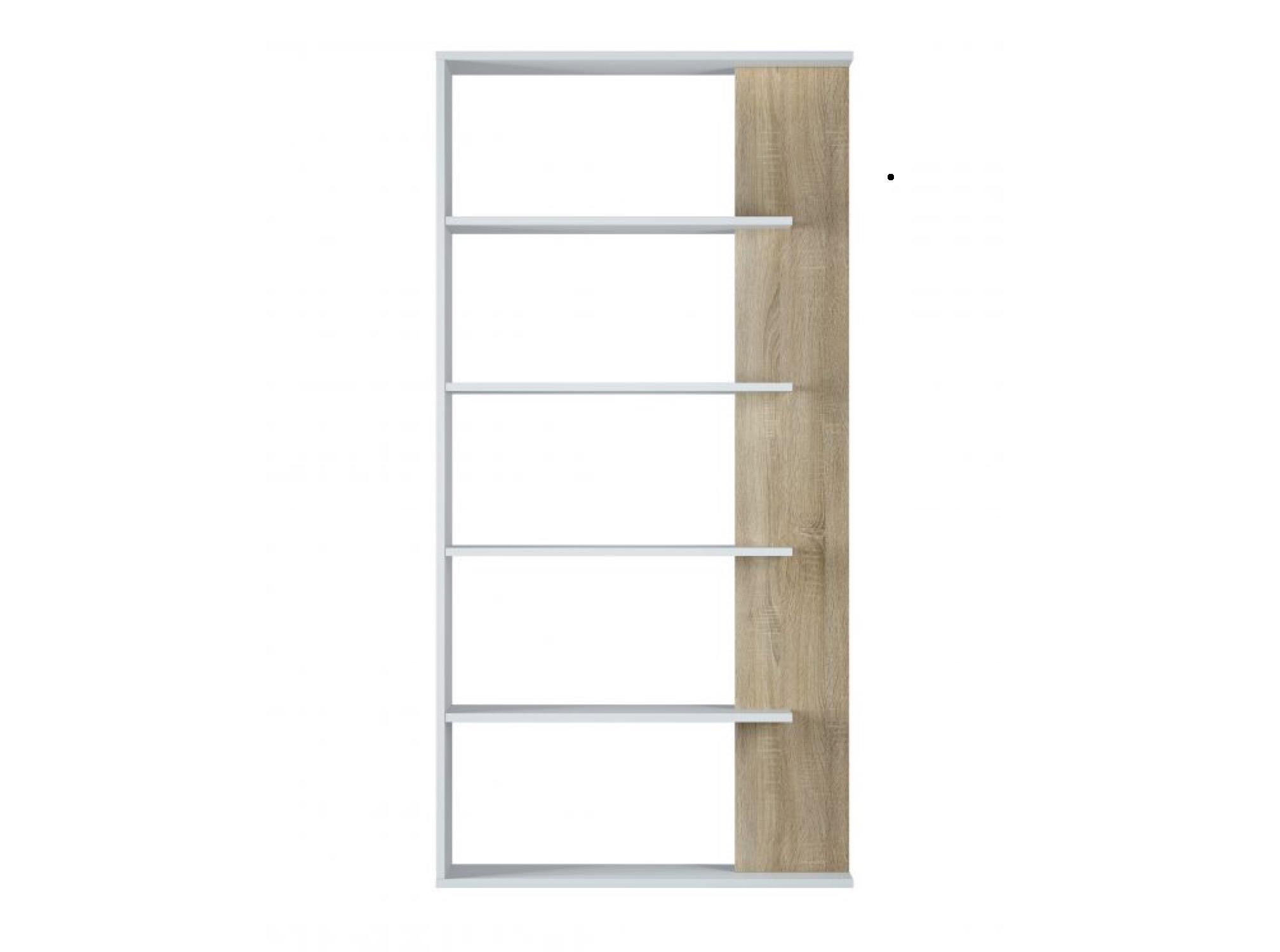Bibliothèque blanc/bois 4 tablettes L90cm x H180cm