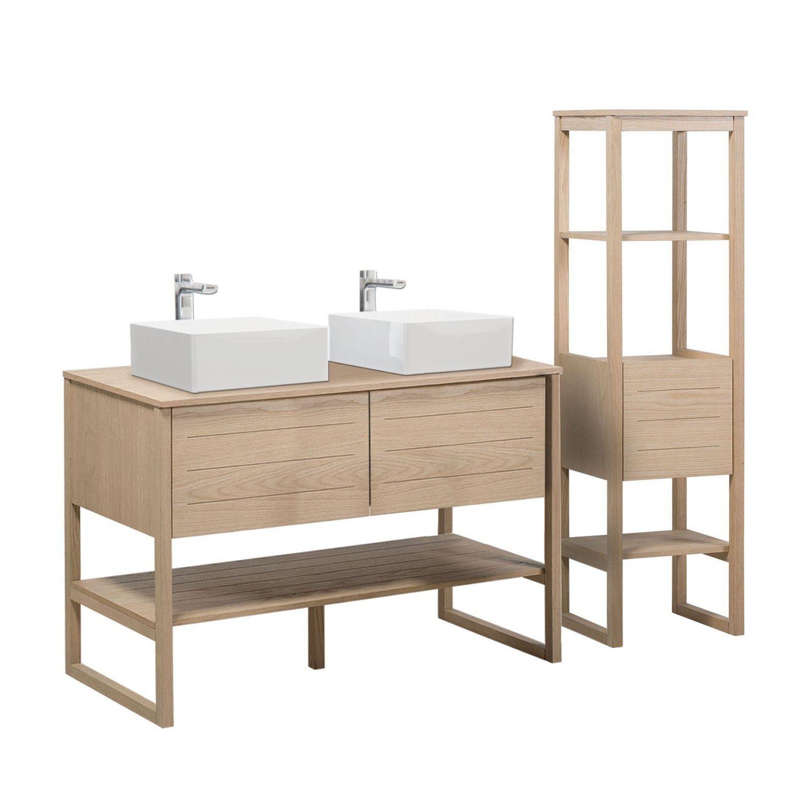 Meuble de salle de bain avec Vasques et Colonne effet bois clair