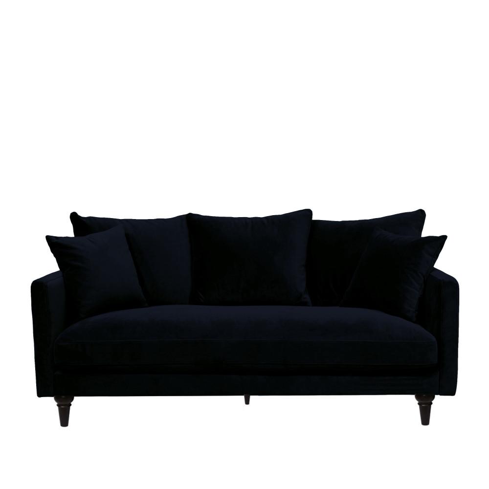 Canapé 3 places en velours pieds tournés bleu marine