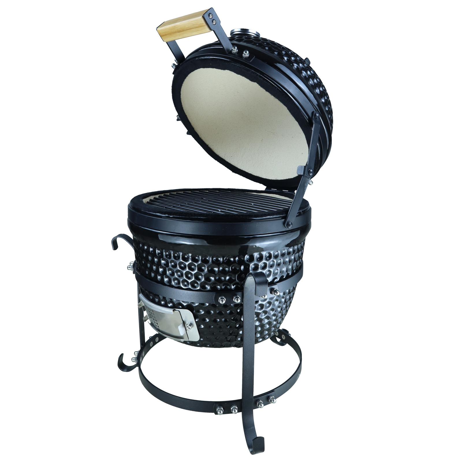 Barbecue à charbon design olive acier céramique martelé noir