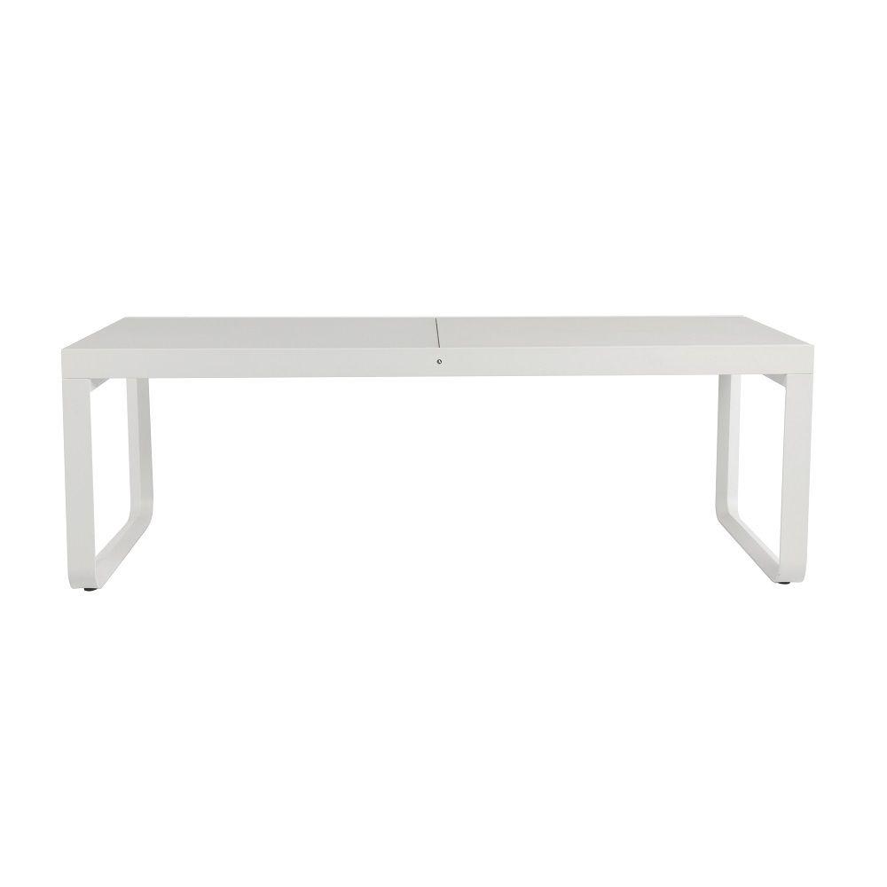 Table extérieur aluminium extensible plateau en verre 12 places blanc