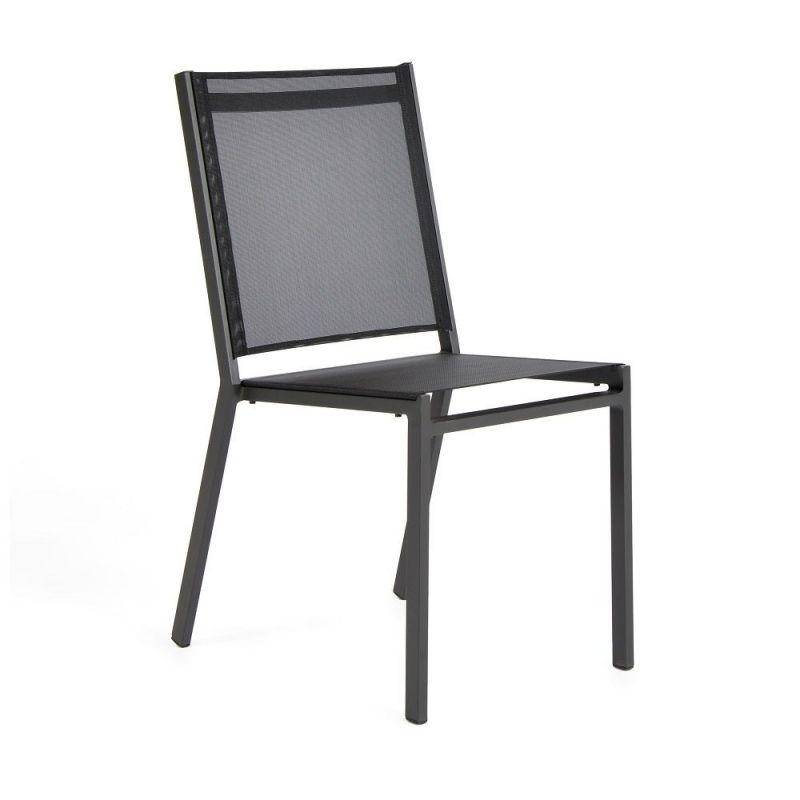 Chaise de jardin empilable aluminium et textilène gris anthracite