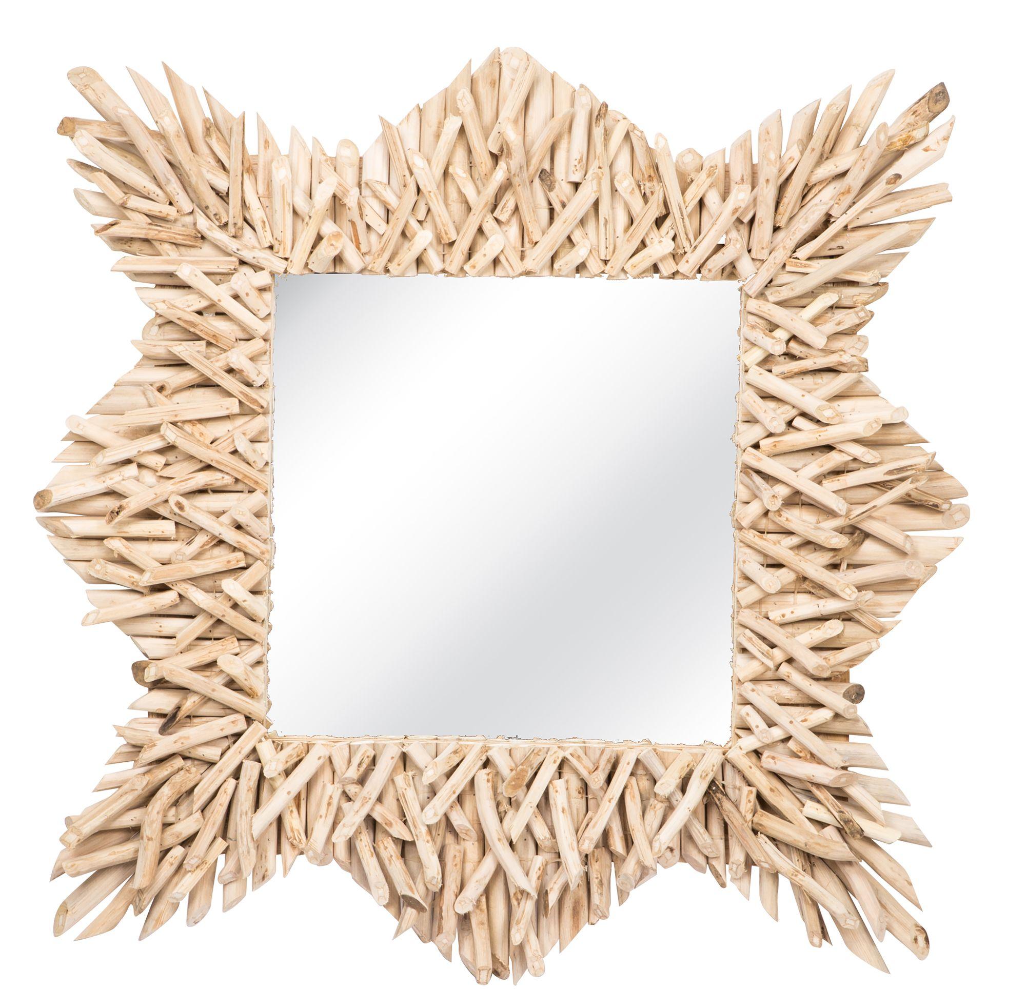 Miroir en branches de teck 80x80