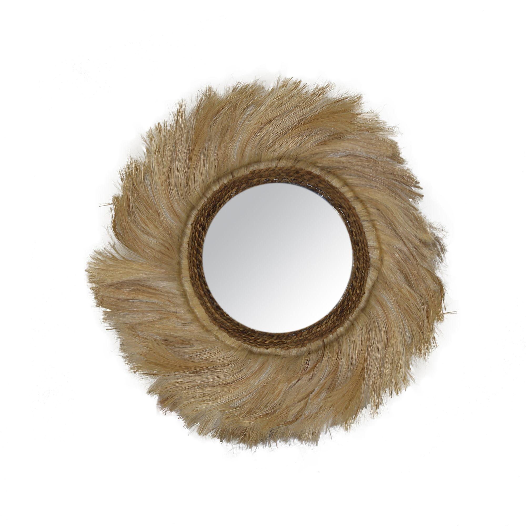 Miroir en feuilles d'abaca D60