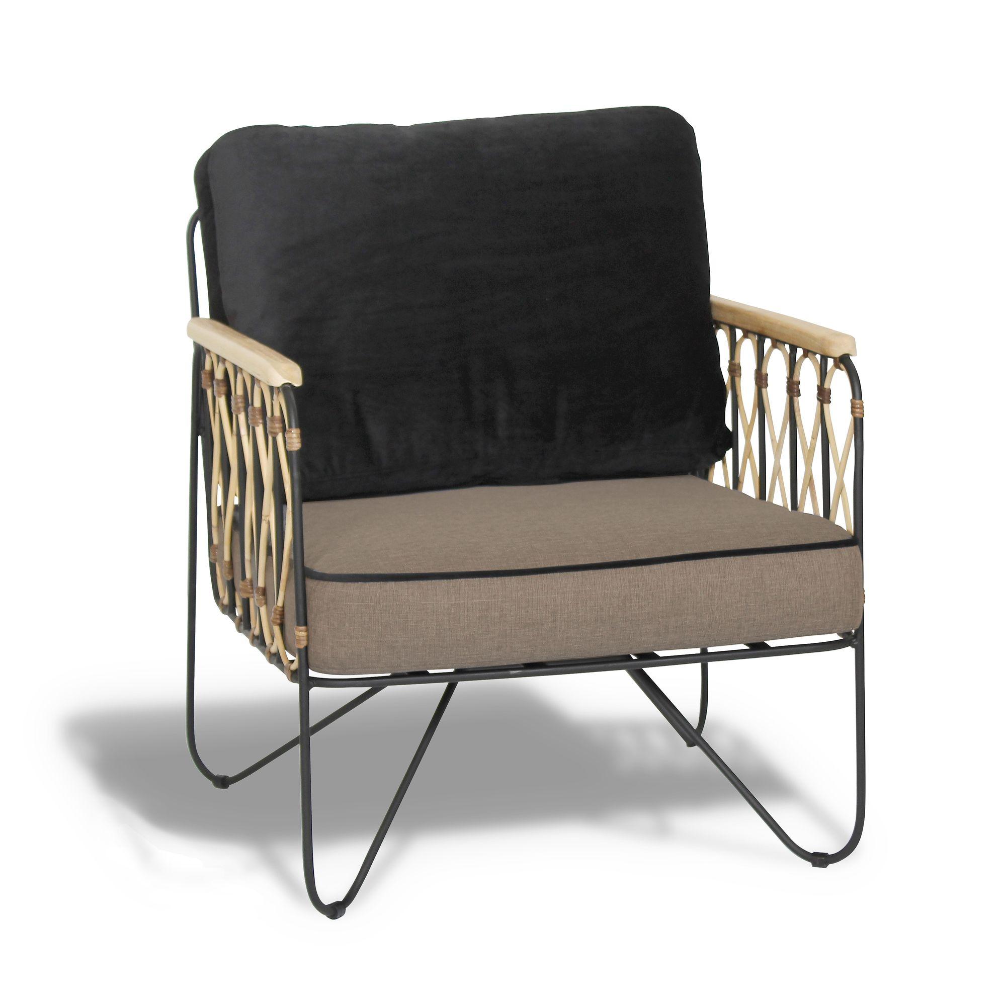 Fauteuil en velours noir et gris structure en métal et rotin