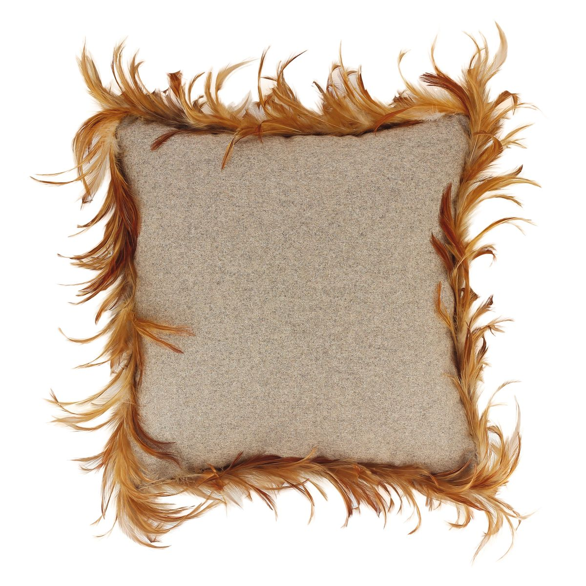 Coussin en flanelle de laine taupe et plumes de coq 40x40