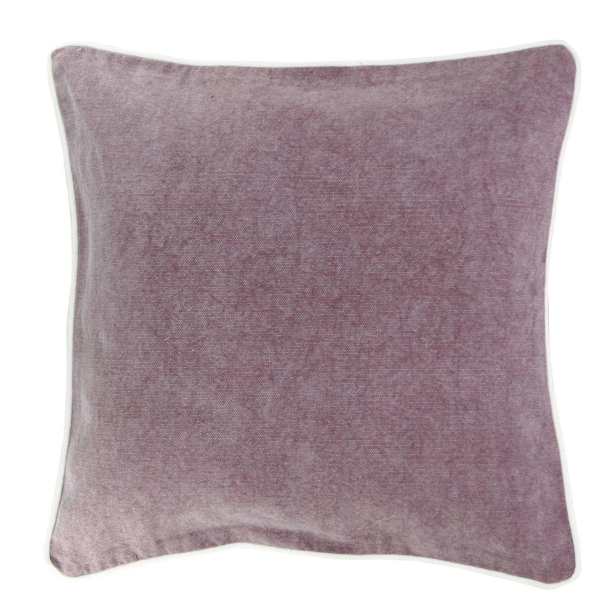 Coussin en coton lavé rose 45x45