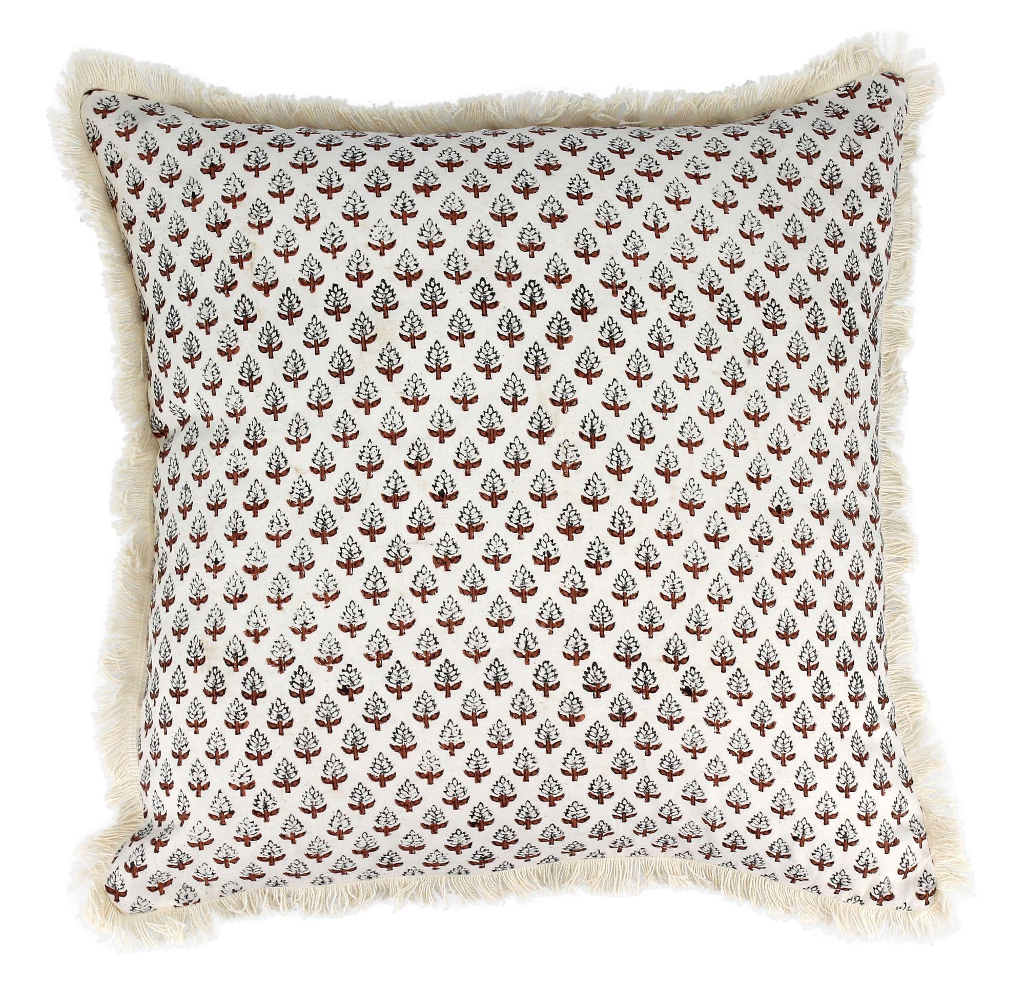 Coussin en coton imprimé avec franges terracotta 40x40