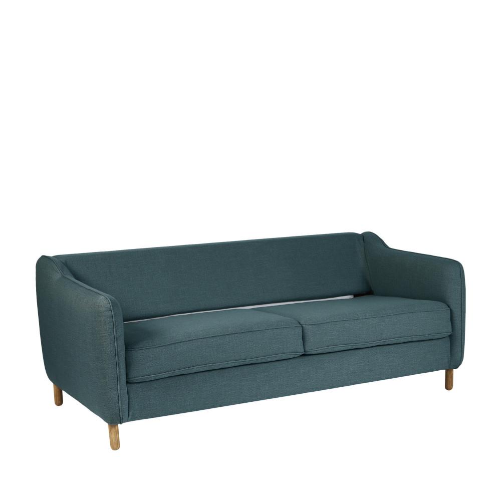 Canapé convertible ouverture express 2 places en tissu bleu pétrole
