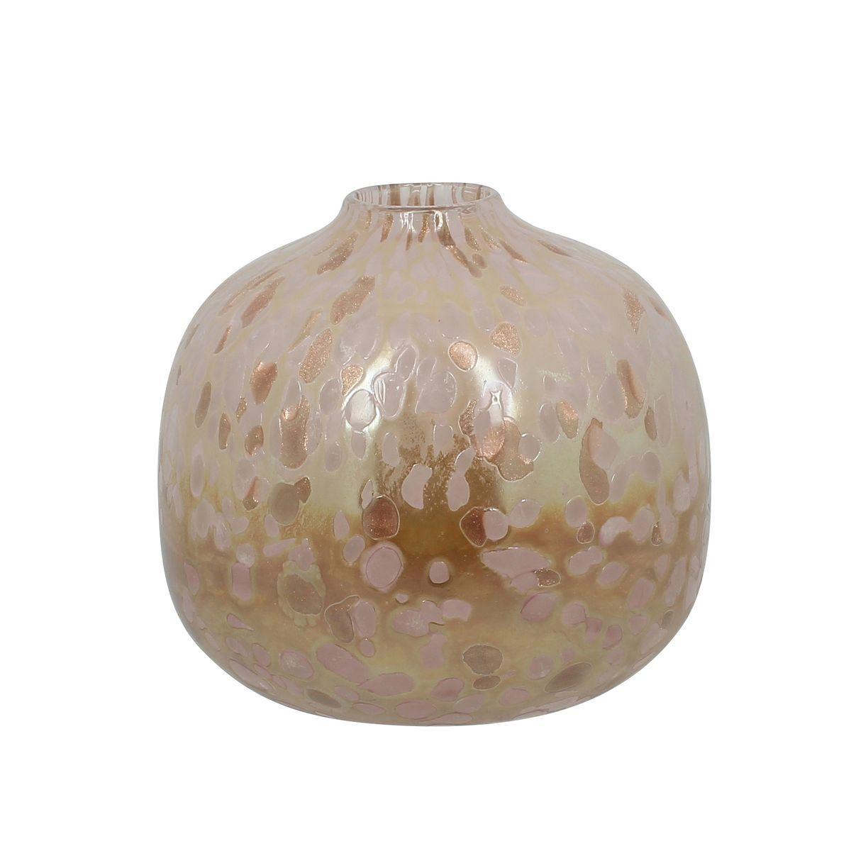 Vase boule en verre soufflé rose et cuivré