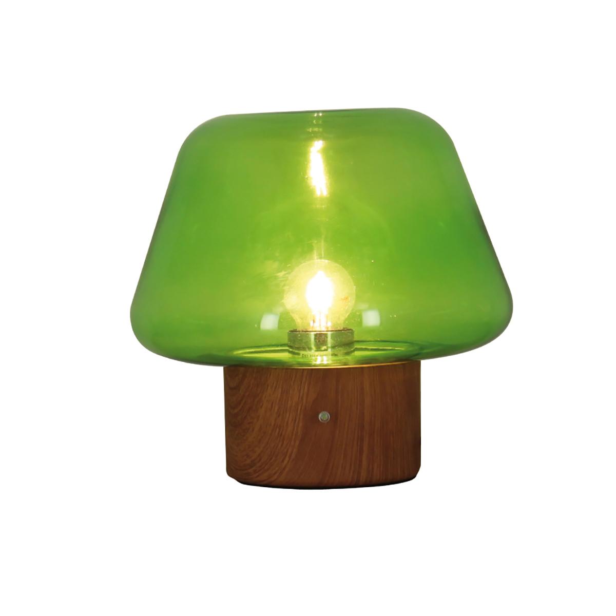 Lampe à poser en verre base en métal effet bois