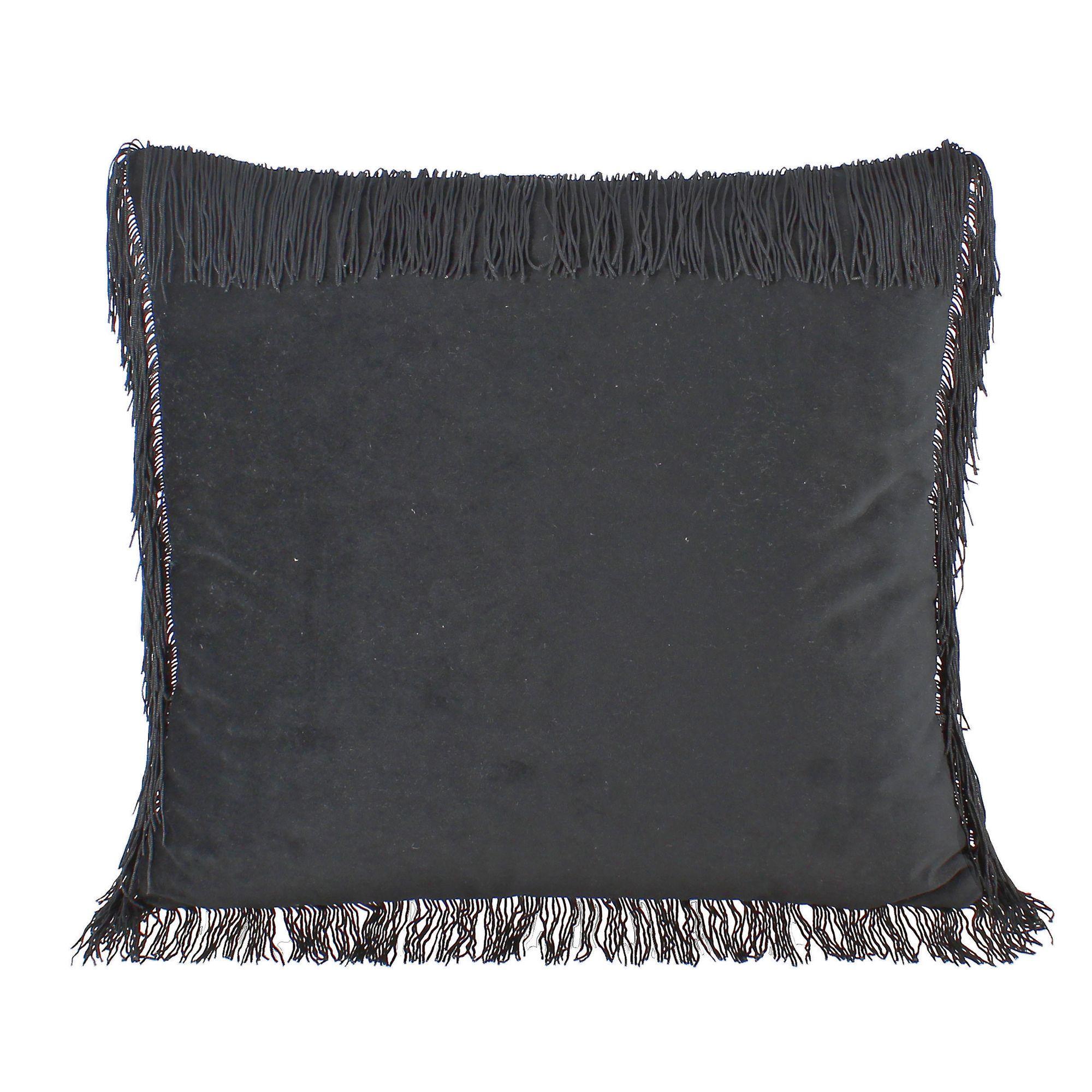 Coussin en velours noir avec franges 40x40