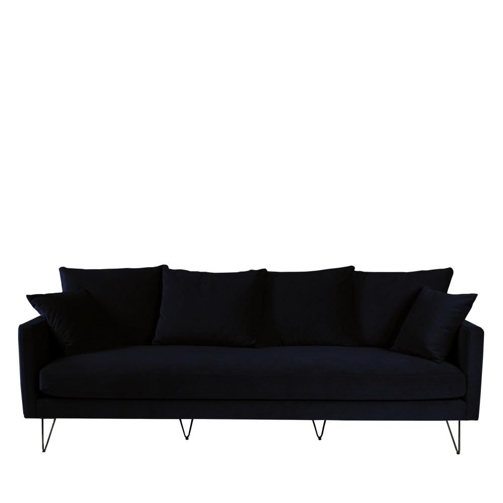 Canapé 4 places en velours pieds épingles noirs bleu marine