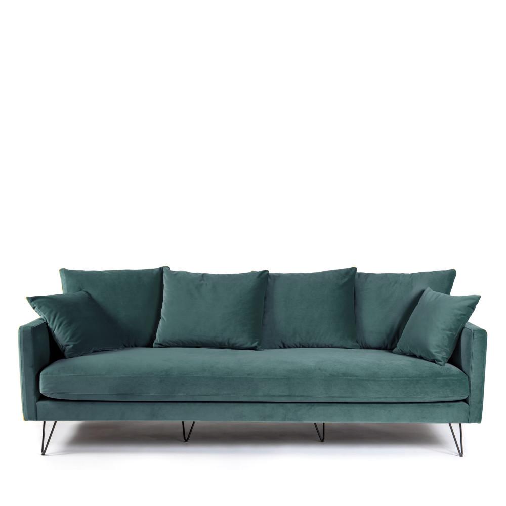 Canapé 4 places en velours pieds épingles noirs vert eucalyptus