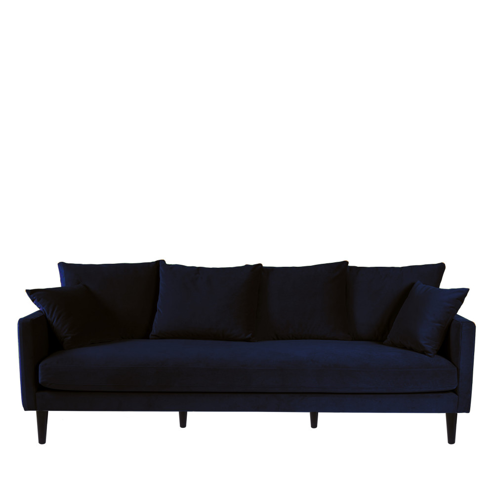 Canapé fixe 4 places Bleu Velours Contemporain Confort