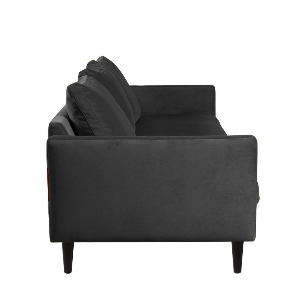 Canapé 4 places en velours pieds droits gris anthracite