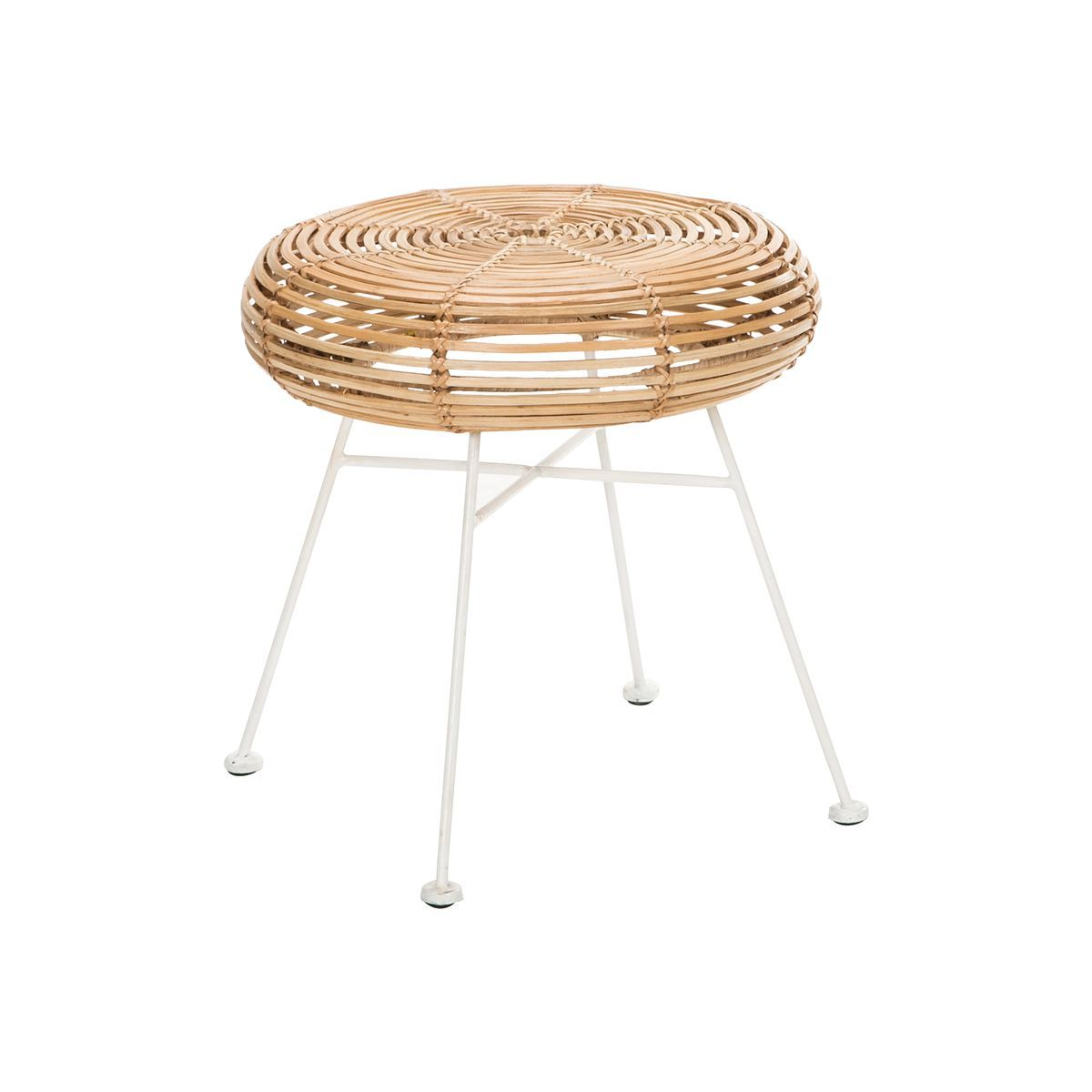Table d'appoint en rotin pied en aluminium blanc