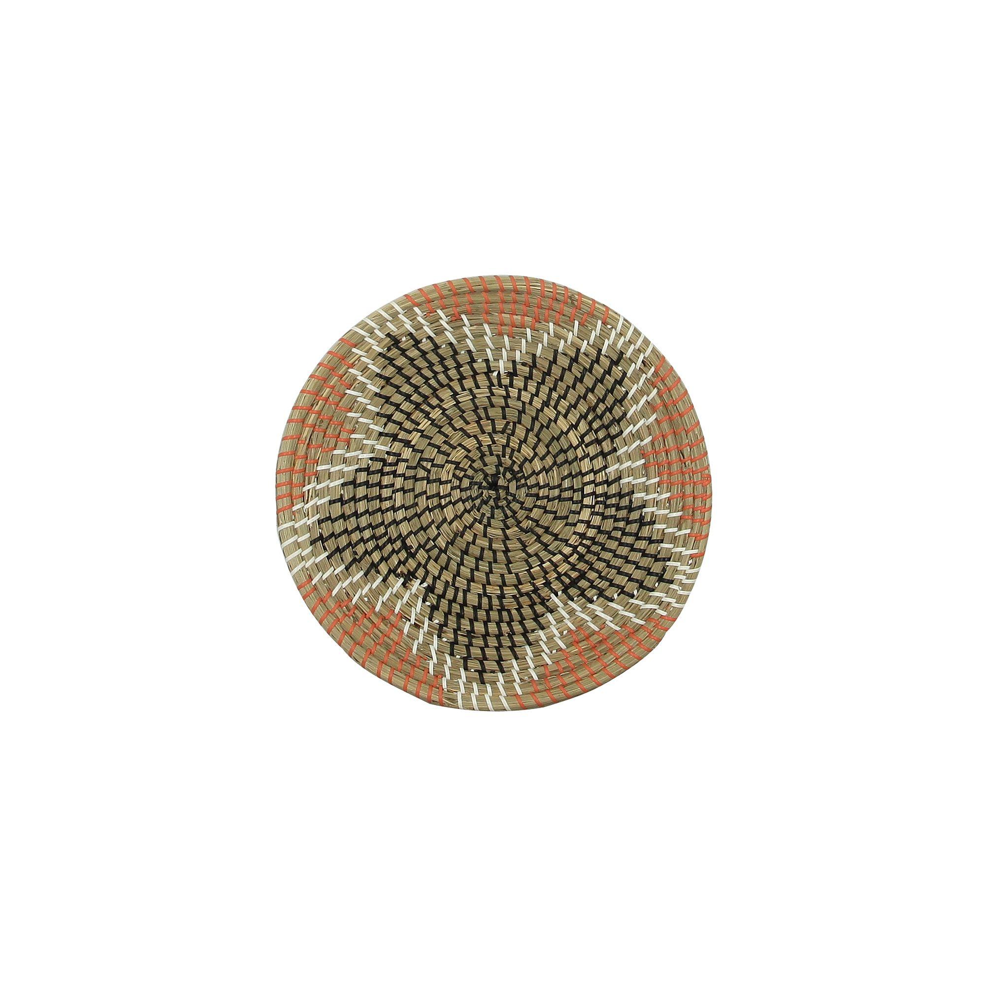 Coupe décorative en jonc de mer orange noir et écru D36