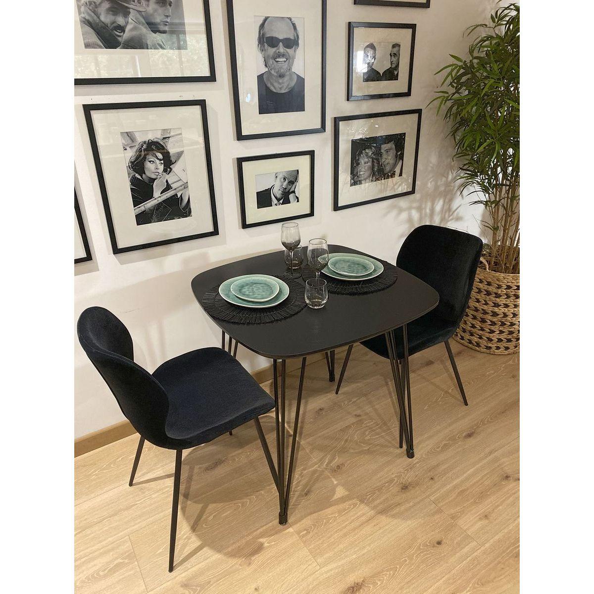 Table carrée noire 80x80