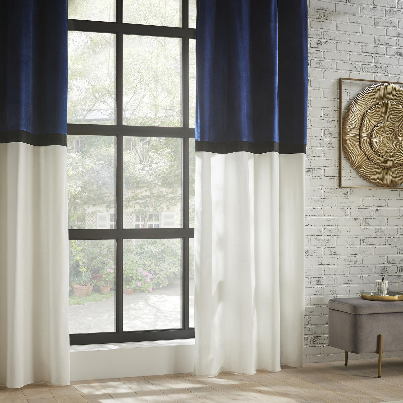 Rideau bicolore style hôtel polyester bleu 260x140