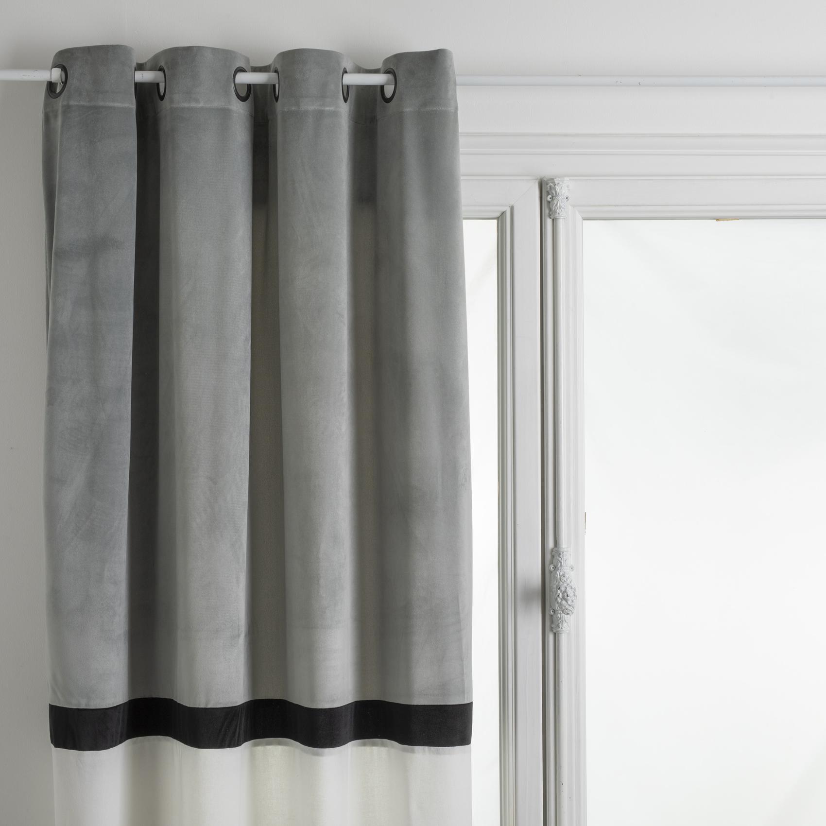 Rideau bicolore style hôtel polyester gris 260x140