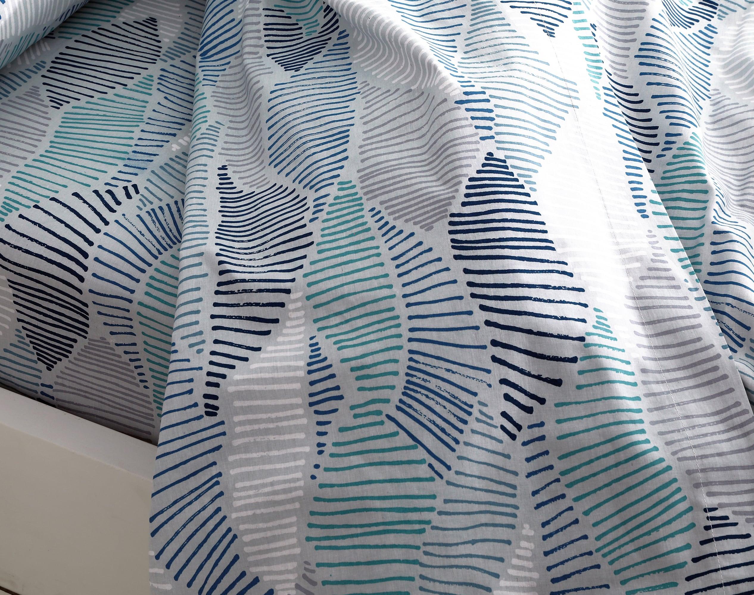 Drap 180x290 en coton bleu