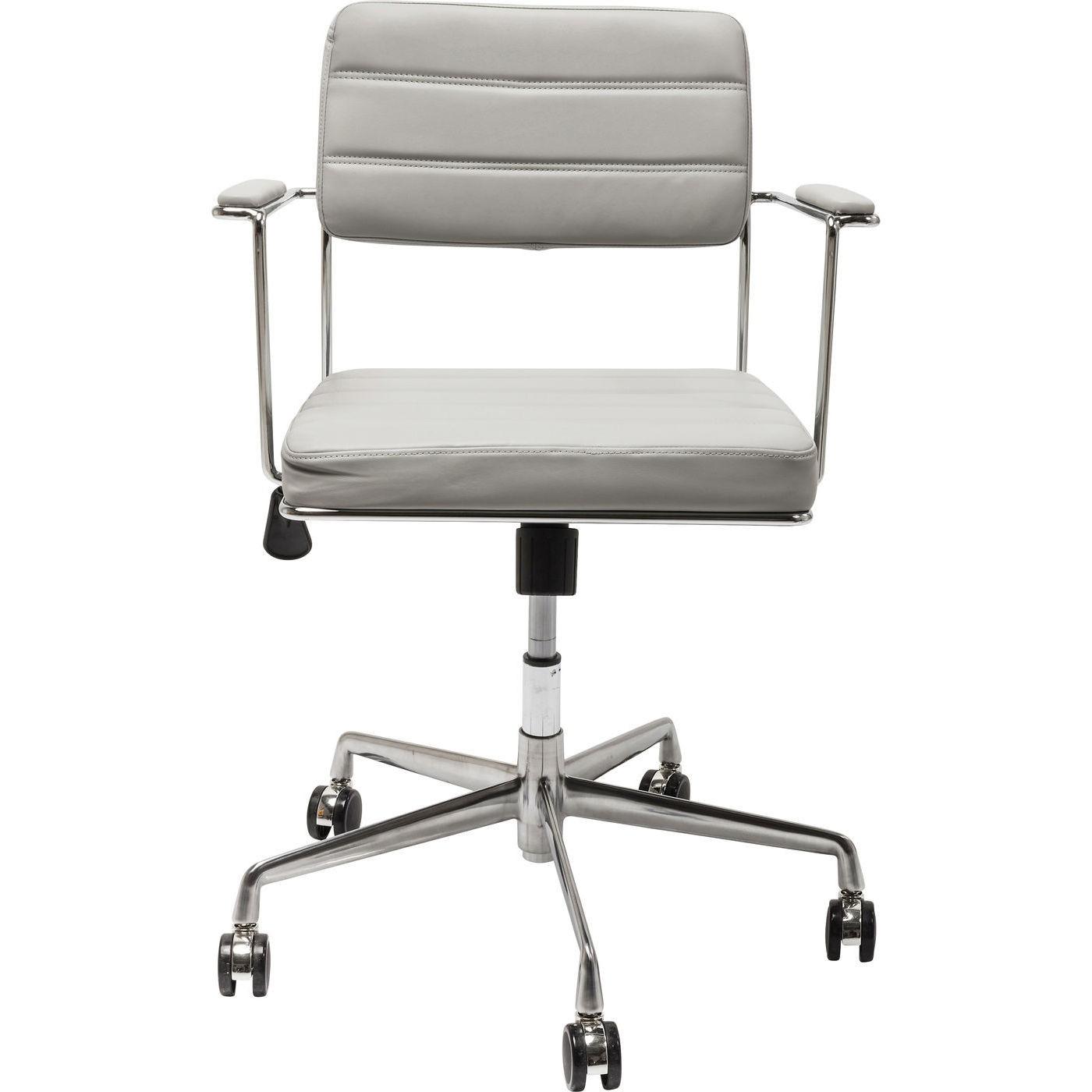 maison du monde Chaise de bureau réglable à roulettes grise et acier chromé