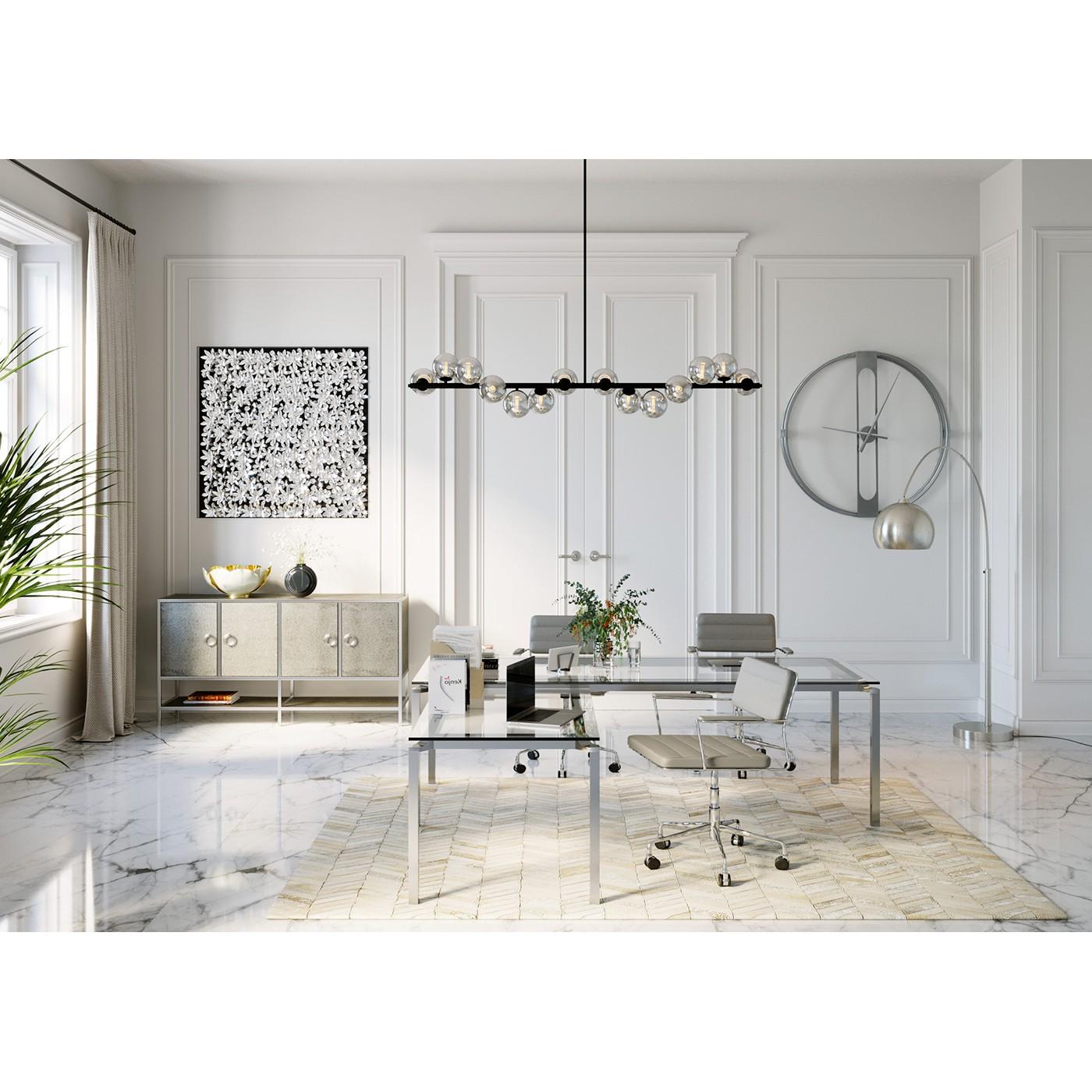 Chaise de bureau réglable à roulettes grise et acier chromé
