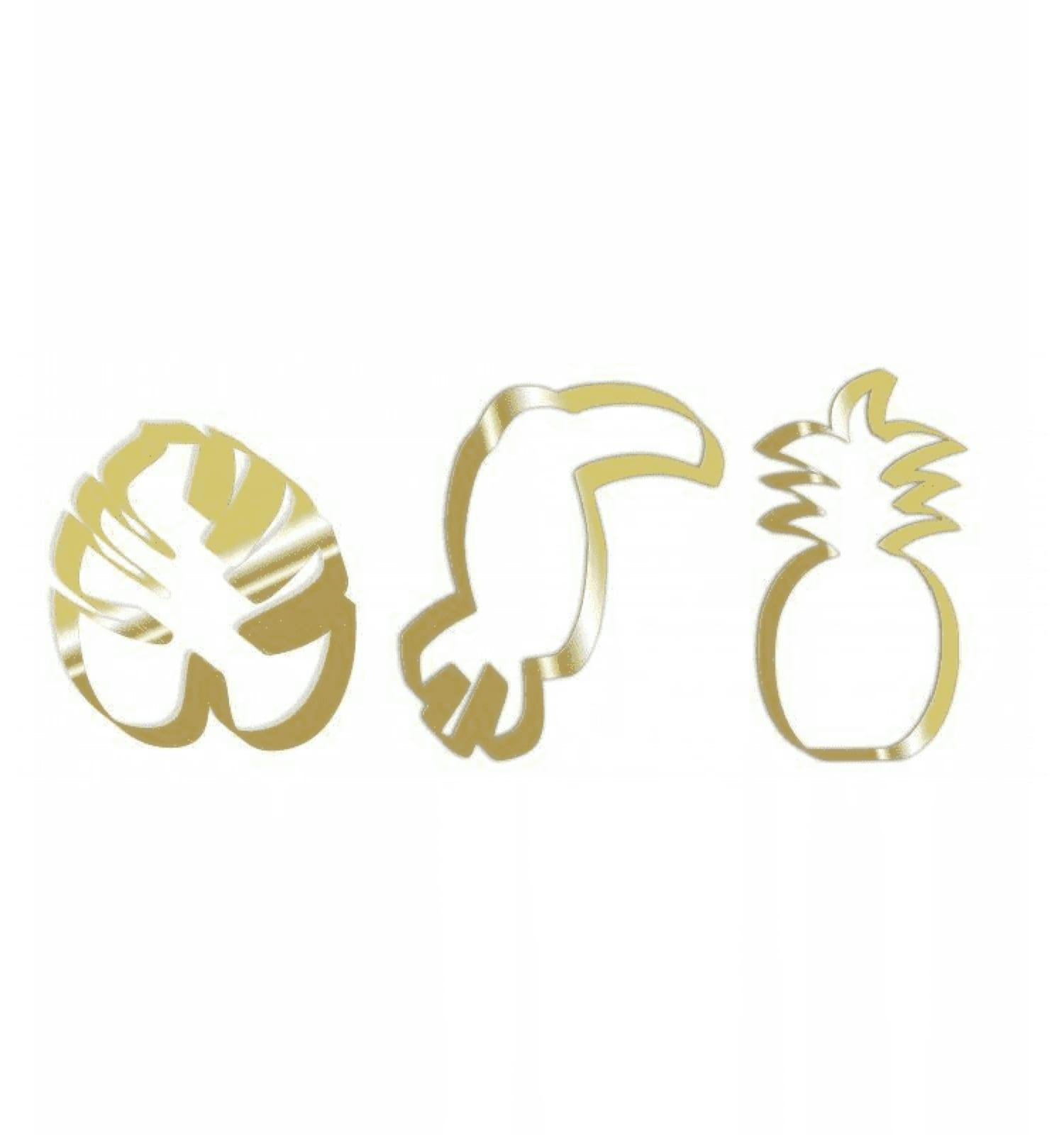 3 découpoirs en inox dorés toucan