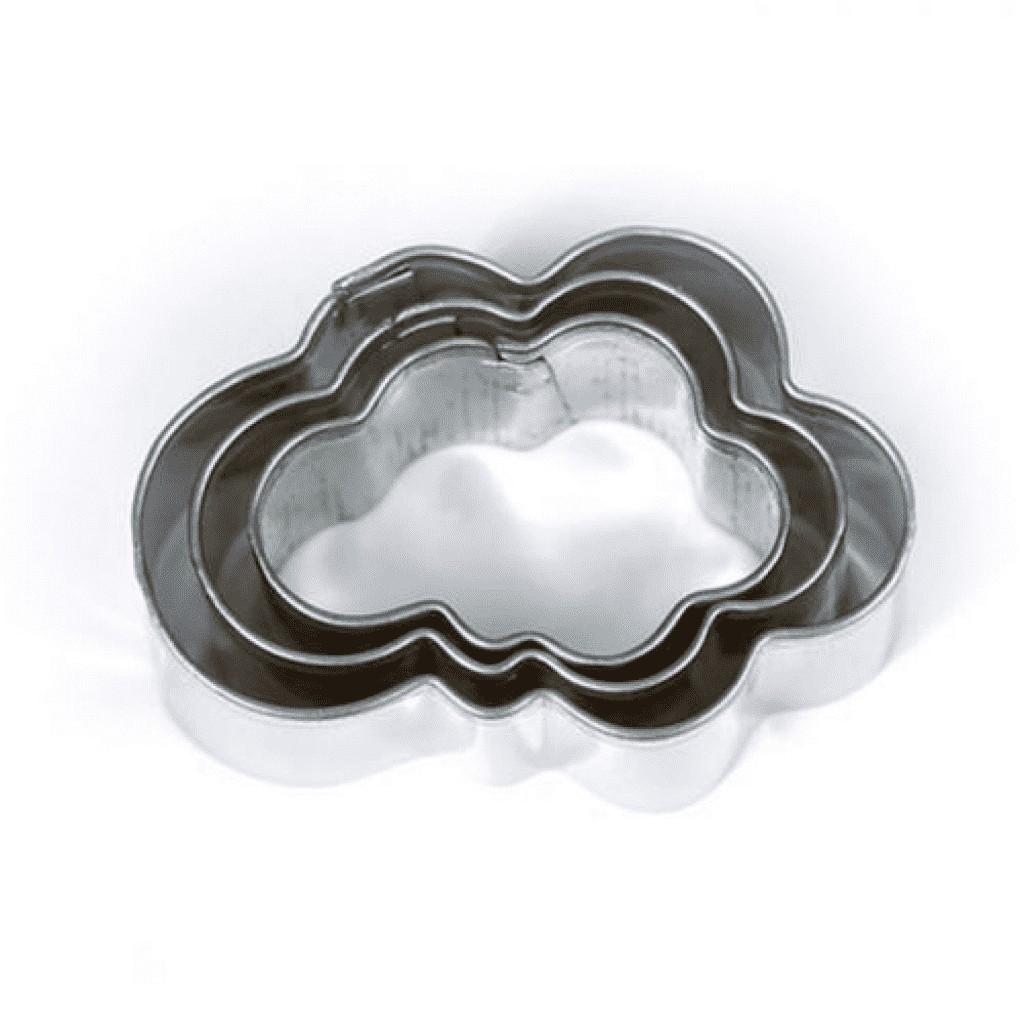 3 mini emporte-pièces en inox nuages