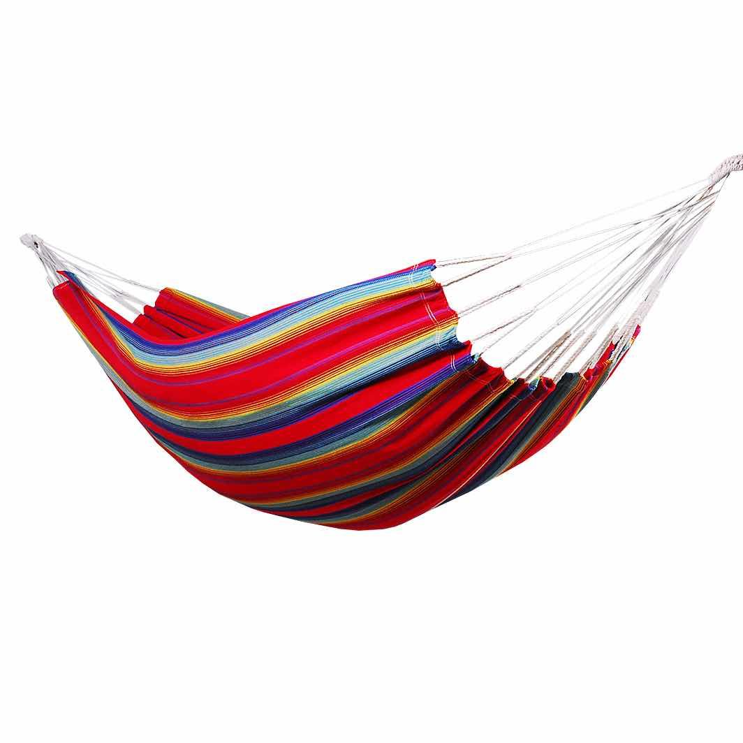 Hamac simple en coton rayé bleu et rouge
