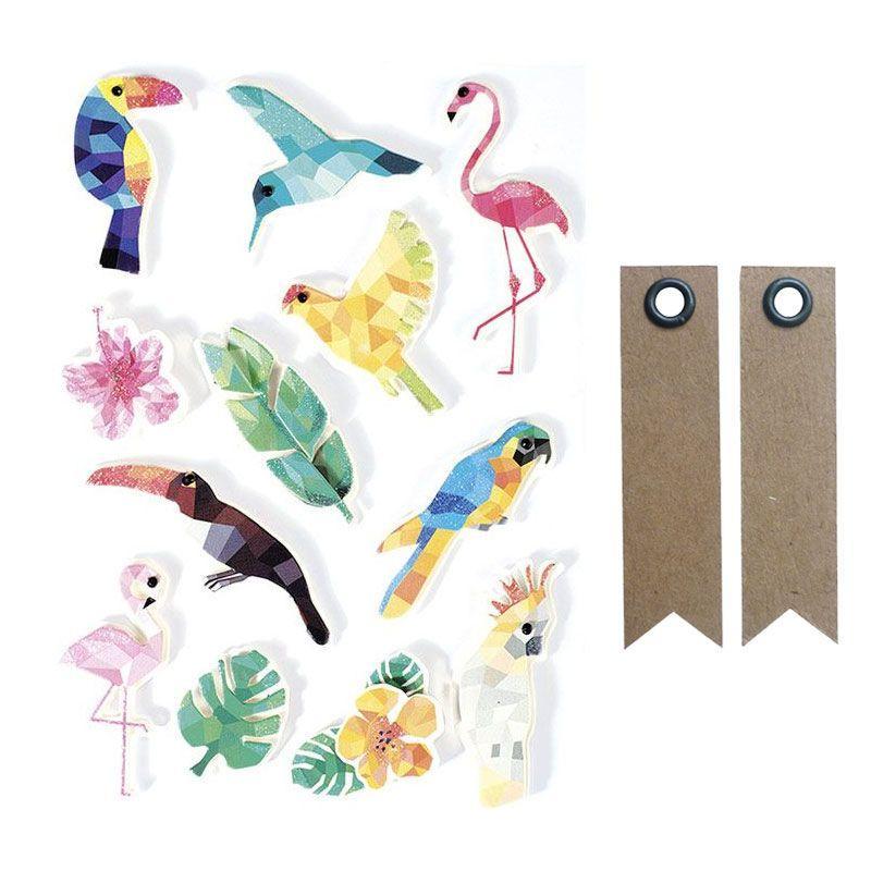 12 stickers 3D oiseaux tropicaux 6 cm + 20 étiquettes kraft
