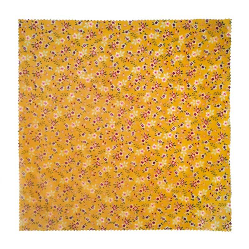 Bee wrap taille M coton, cire d'abeille orange fleurs