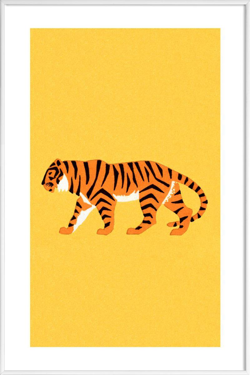 Affiche avec cadre standard (Blanc) en Jaune & /30x45