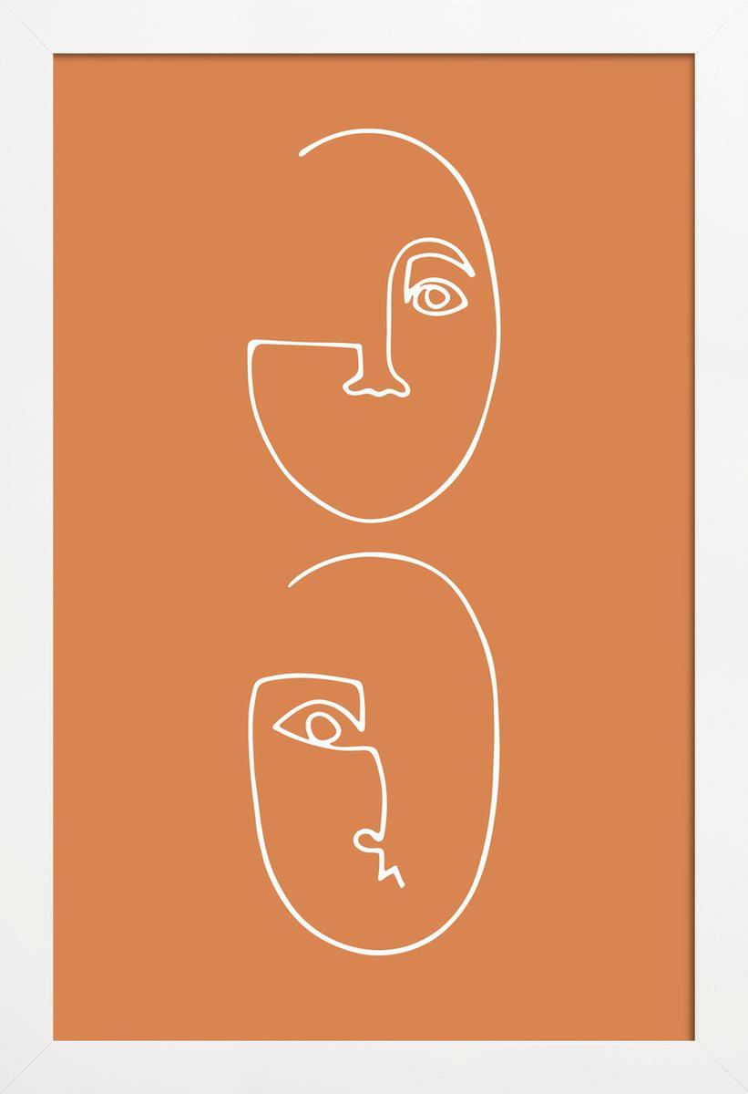 Affiche avec cadre en bois (Blanc) en Marron & /60x90